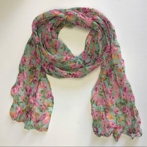 Blue Pink Floral thin oblong Scarf.